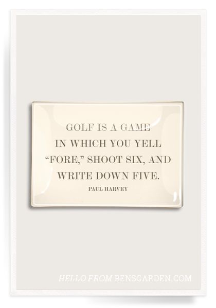 Golf Is A Game Decoupage Glass Tray