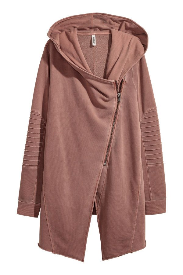 1580c214be Cardigan in sweatshirt fabric with a lined hood. Diagonal zip at front