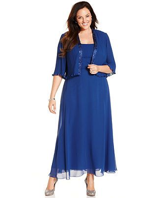 Patra Plus Size Sleeveless Pleated Gown and Jacket - Mother of the Bride - Women - Macy's