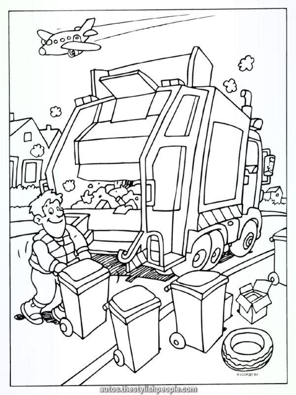 coloring web page rubbish truck rubbish collectors
