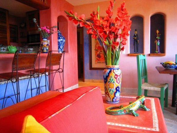 mexikanische einrichtungsideen wandfarbe rot