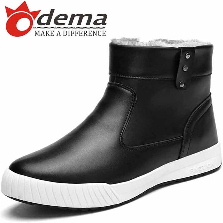 Korea 2016 Winter Warm Plush Fur Boots For Men Fashion Genuine Leather Snow Boots Men's Slip-on Casual Short Boots alishoppbrasil