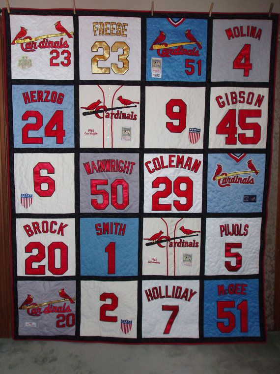 Quilt made from Cardinal baseball jerseys by BarbMalmTshirtQuilts on Etsy
