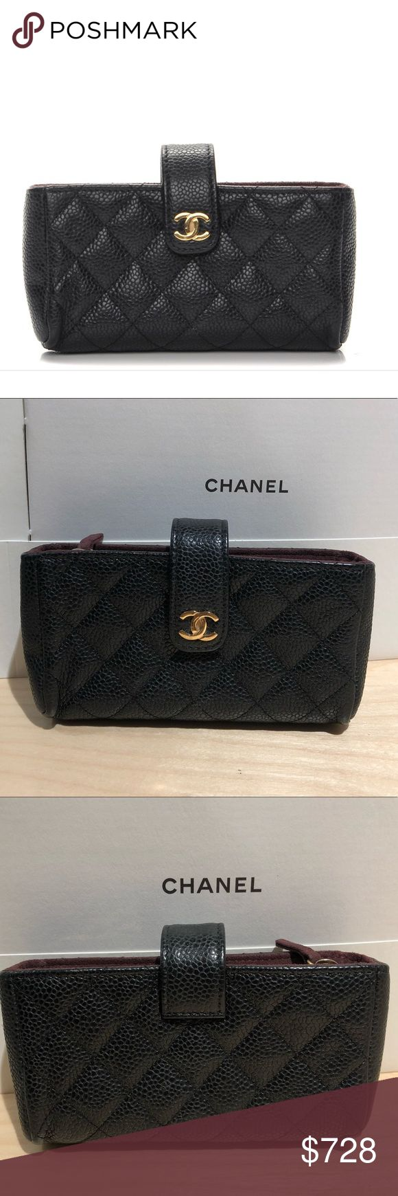 Authentic Chanel Caviar Quilted Mini Phone Holder This is an authentic in excellent condition CHANEL Caviar Quilted Mini Phone Holder Clutch in Black color. This is crafted of diamond quilted caviar leather in black. It features a cross over strap with a gold Chanel CC and a padded interior with a central dividing zipper pocket. This is an excellent phone holder for safety and security with the timeless quality and style of Chanel!  Measurements  Length: 5.25 in Width: 1.25 in Height: 3 in…