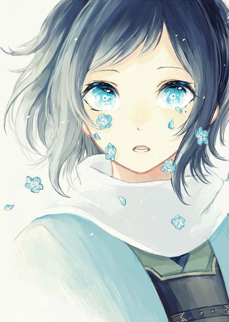 Manga Mädchen ... schwarze Haare ... weint Blumen ... wasserblaue  Augen (Cool Girl Anime)