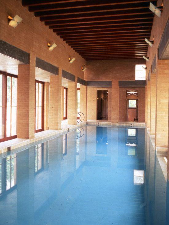 Gorgeous Pool House Design in Luxury House: Fascinating Buffum Poolhouse Interior Design Long Indoor Pool
