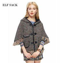 ELF SACK Women Autumn Half Sleeve Tassels Hem Weave Coat With Hood 2015 New Free Shipping(China (Mainland))