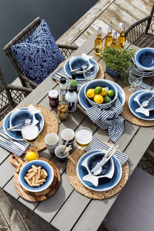 Table set with blue and white coastal feel