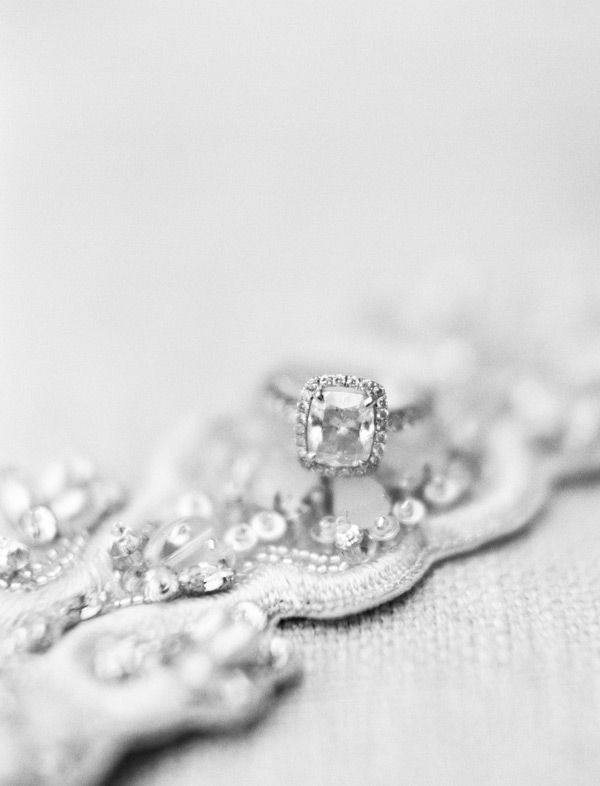 Assher cut diamond engagement ring photographed on the bride's embroidered belt. An Elegant September Wedding | NYC Wedding Photographer » Lindsay Madden Photography