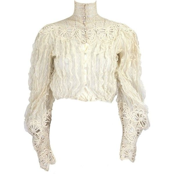 Vintage Edwardian Cream Lace Ruffled Blouse – THE WAY WE WORE ($650) ❤ liked on Polyvore featuring tops, blouses, white lace blouse, high neck blouse, white ruffle blouse, white lace top and lace blouse