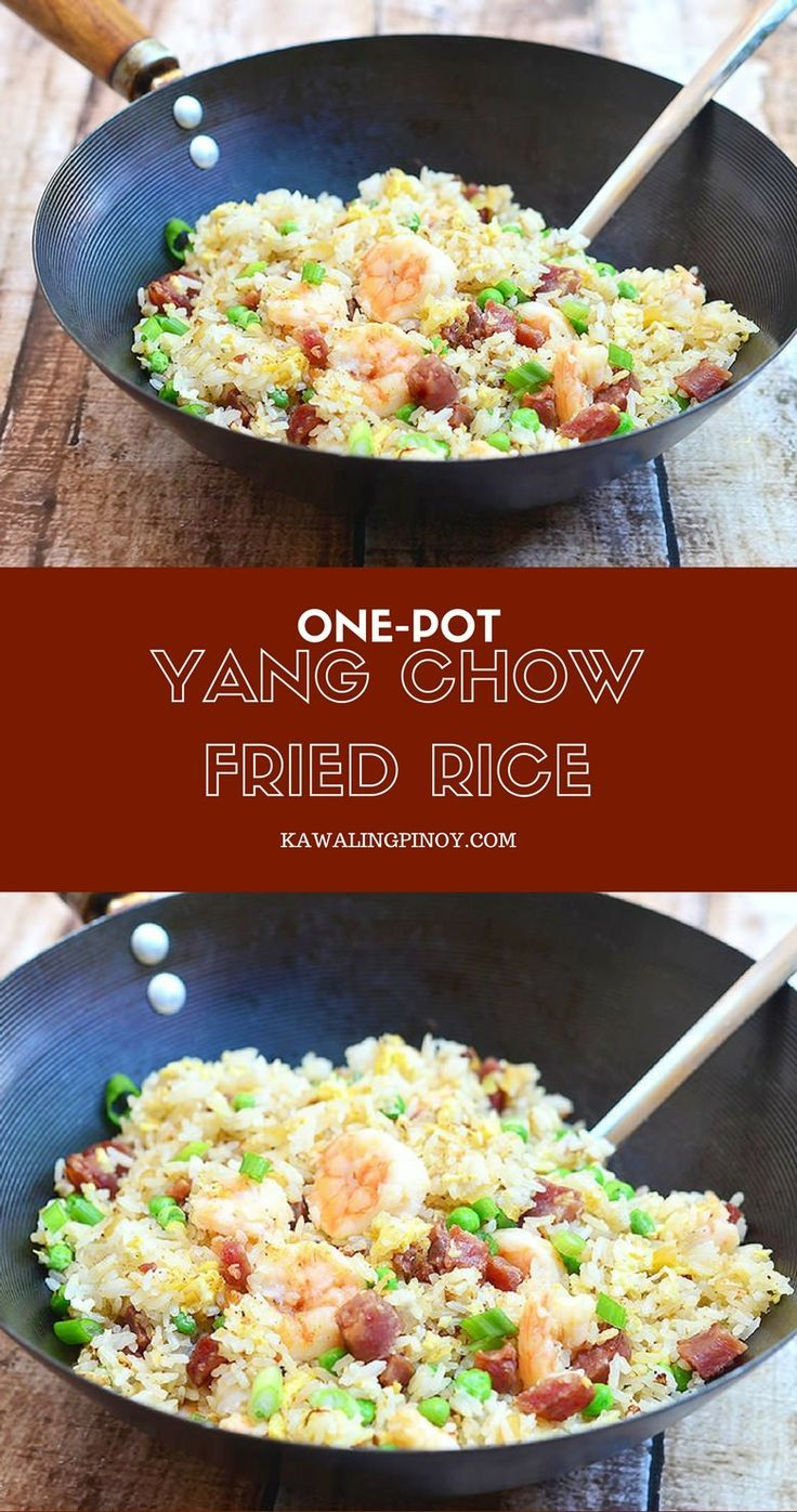 Yang Chow Fried Rice is the perfect use for day-old rice. Chock full of Chinese sausage, shrimp, green peas, eggs, and green onions, it's a delicious one-pot meal!