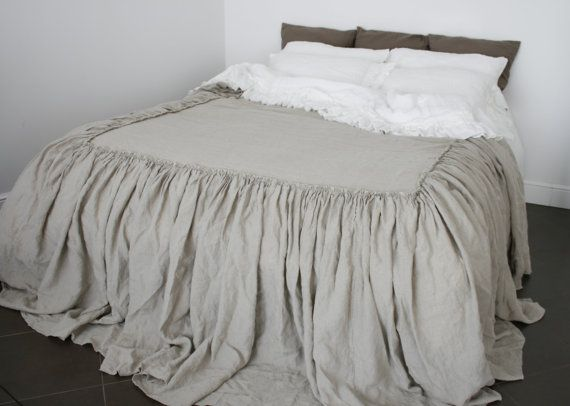 Linen coverlet, linen bedspread , Linen Bed skirt dust ruffle   stonewashed  made by mooshop
