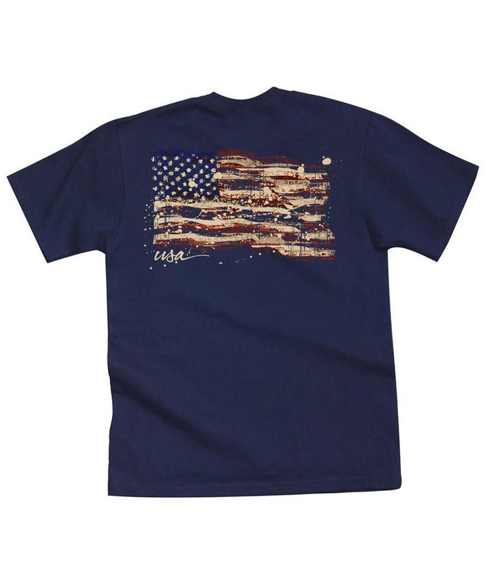 Painted Flag - Navy Crew Neck T-Shirt