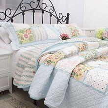 FADFAY 100% Algodón Queen Size Floral Romántica colcha de Retazos Colcha de Hojas de ropa de Cama Edredones de Algodón Conjunto(China)