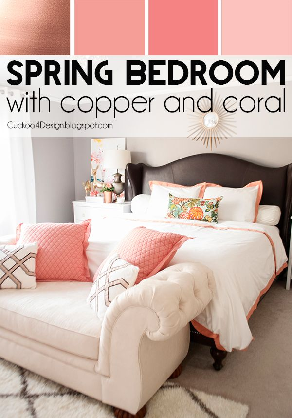 Spring Bedroom with copper and coral