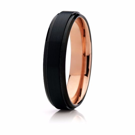6mm Black Tungsten With Rose Gold Interior Wedding Band