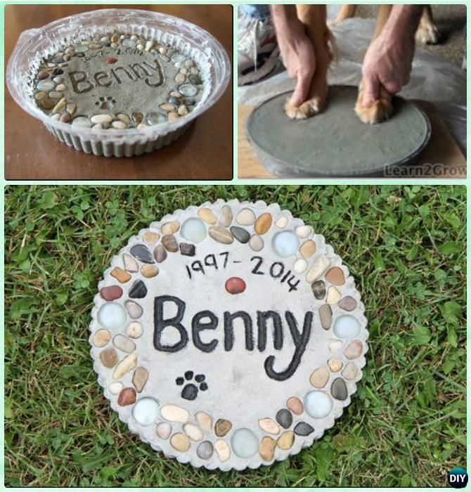 DIY Puppy Paw Print Memory Garden Stepping Stone Instruction --Paw Print Craft Ideas Projects #Dog, #Garden