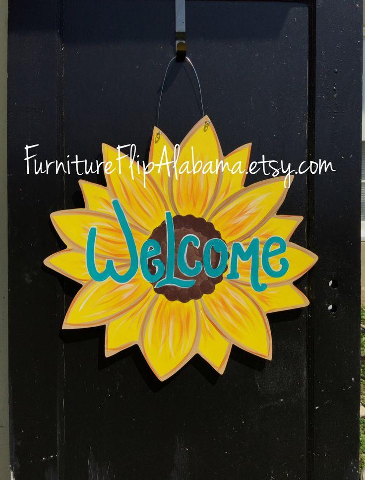 Sunflower wood door hanger,Sunflower Wreath,Summer door hanger,Personalized decor hanger,Custom door hanger,summer door sign, by Furnitureflipalabama on Etsy
