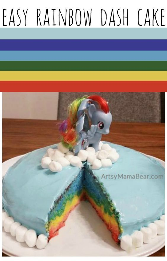 Easy Rainbow Dash Cake! Perfect for my little pony birthday party theme :)