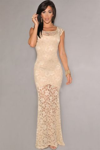 Ivory Sexy Lace Lined Evening Maxi Dress R799.00