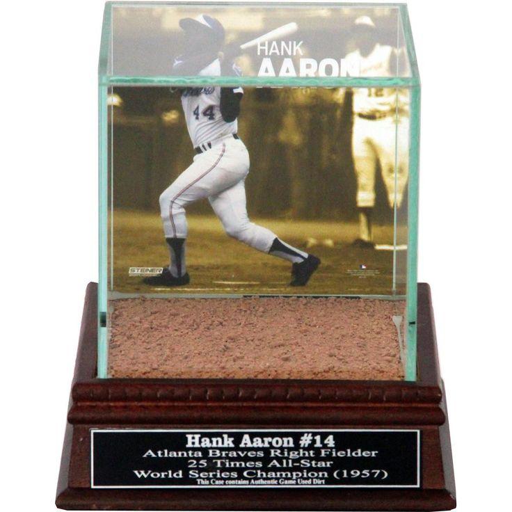 Hank Aaron Swinging Background Glass Single Baseball w Turner Field Authentic Dirt & Nameplate