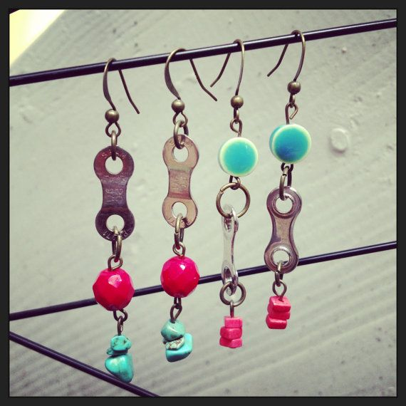 Coral and Turquoise Recycled Bicycle bike Chain by maybirdjewelry