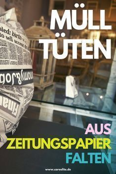 Plastikfreie Mülltüten aus Zeitungspapier falten