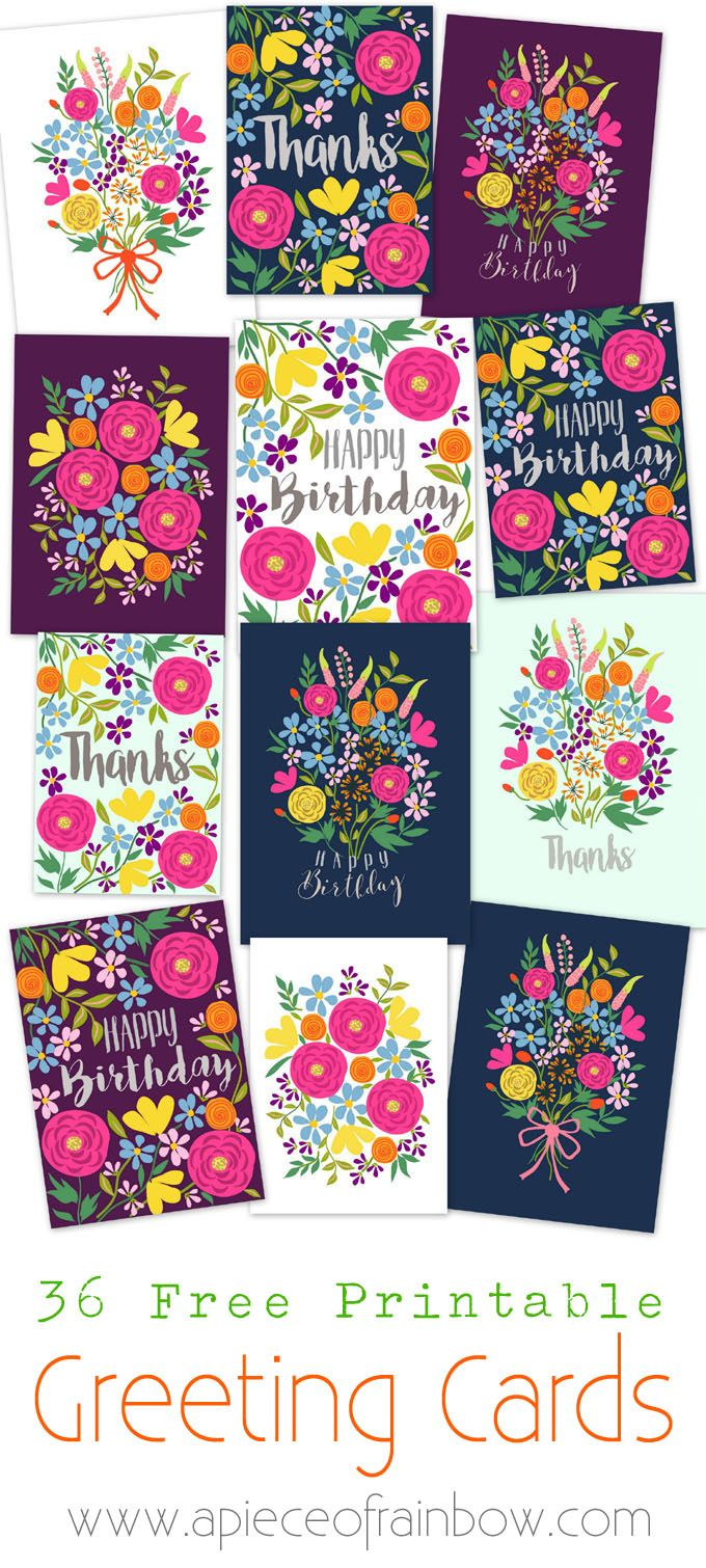Free printable greeting cards from A Piece of Rainbow