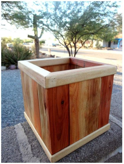 Urban Gardening Portable Garden Box Raised Red Wood 4 Sizes for Small Spaces redwood garden box flower planter