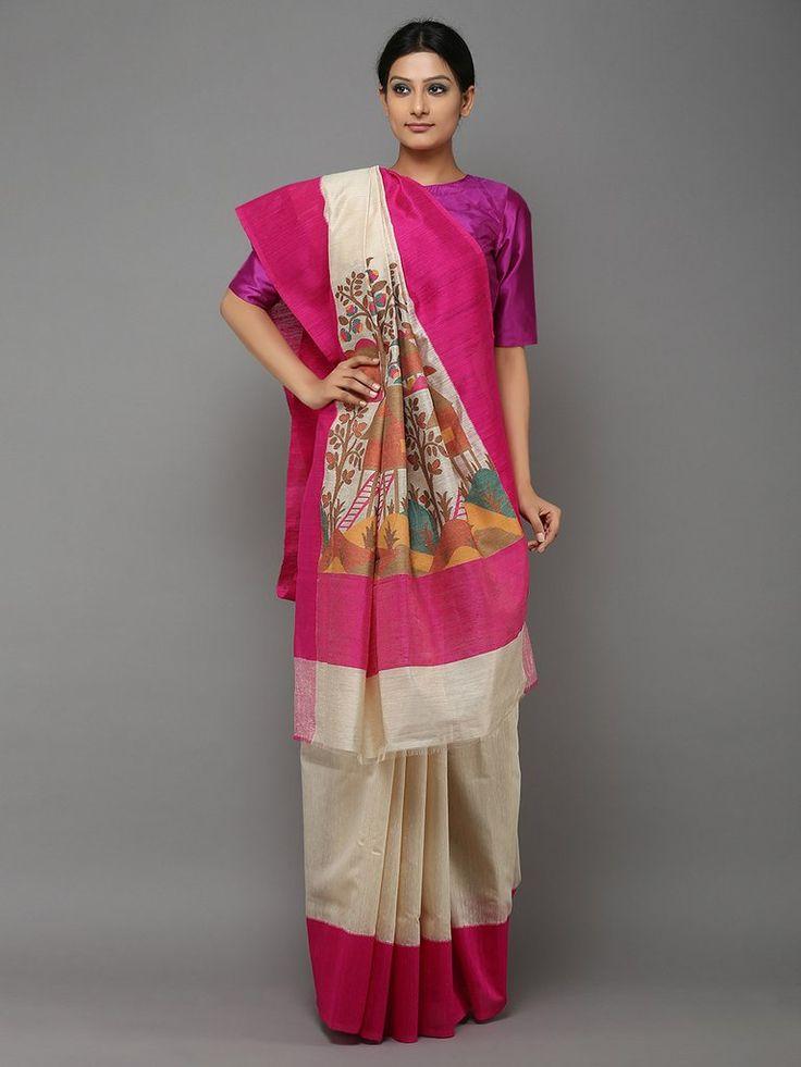 Off White Pink Handwoven Banarasi Tussar Saree