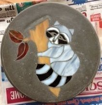 "Raccoon 8"" Round Stained Glass Garden Stone"