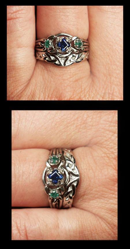 Guinevere Royale Puzzle Ring With Custom Celtic Knotwork Shadow Band