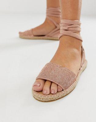 9c2c7a86031 DESIGN Jamila rhinestone tie leg espadrille sandals in 2019 ...