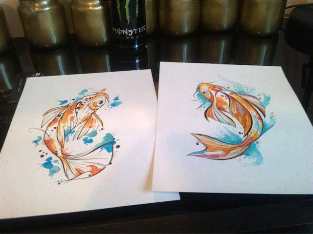 Watercolor Koi Tattoo designs by me. #koi #tattoo #design #watercolor #pen #fish