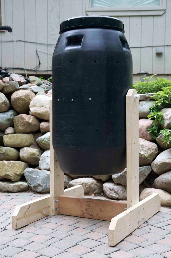 Features     Previously used 58 gal. food-grade drum   Black plastic helps compost breakdown faster by utilizing the suns energy   Durable wood frame   Rake system inside helps separate compost   Low impact on your back   Easy on-and-off twist top lid    Maxi Containers Compost Tumbler Kit comes complete with step-by-step photographic instructions packed with useful information about how to get started making rich soil from your kitchen and yard waste. In no time you will be composting like…