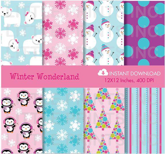 winter wonderland penguin polar bear digital paper. Black Bedroom Furniture Sets. Home Design Ideas