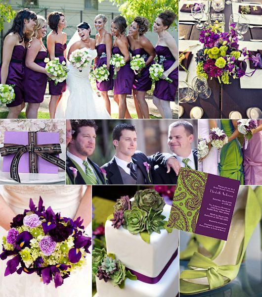 Grön-lila färgtema på bröllop
