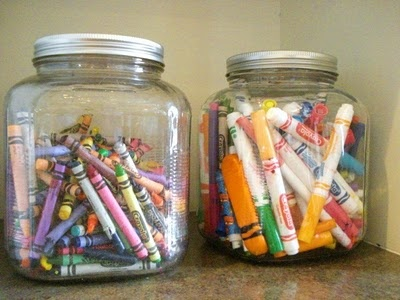 large jars for crayons and markers