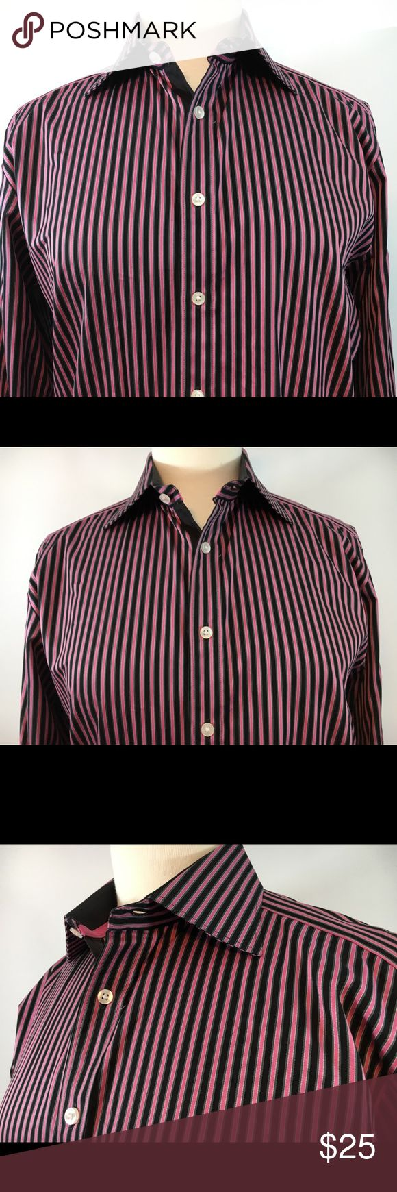 THOMAS PINK JERMYN STREET LONDON BLOUSE Slim Fit THOMAS PINK JERMYN STREET LONDON  CLASSIC OXFORD SHIRT FULL BUTTON FRONT  PINK BLACK GRAY & WHITE PINSTRIPE  LONG SLEEVES FRENCH CUFFS 100% COTTON FINEST COTTON  WOMEN'S US SIZE - 15 *RUNS SMALL (Slim Fit) Thomas Pink Tops Blouses