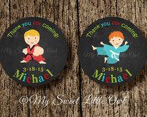 Sticker de karate - etiqueta karate niño -  fiesta cumpleaños artes marciales niño - baby shower karate - taekwondo - kung fu