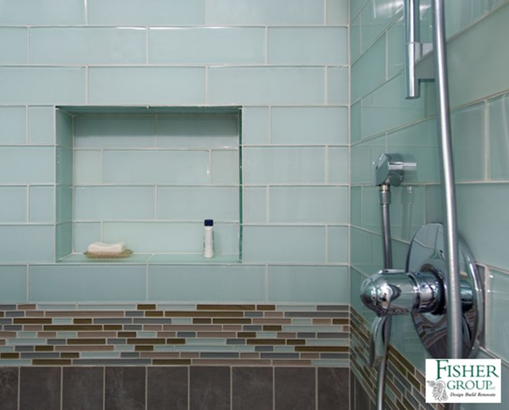 Blue green glass tile mosaic accent band brown ceramic for Large glass tiles for bathroom