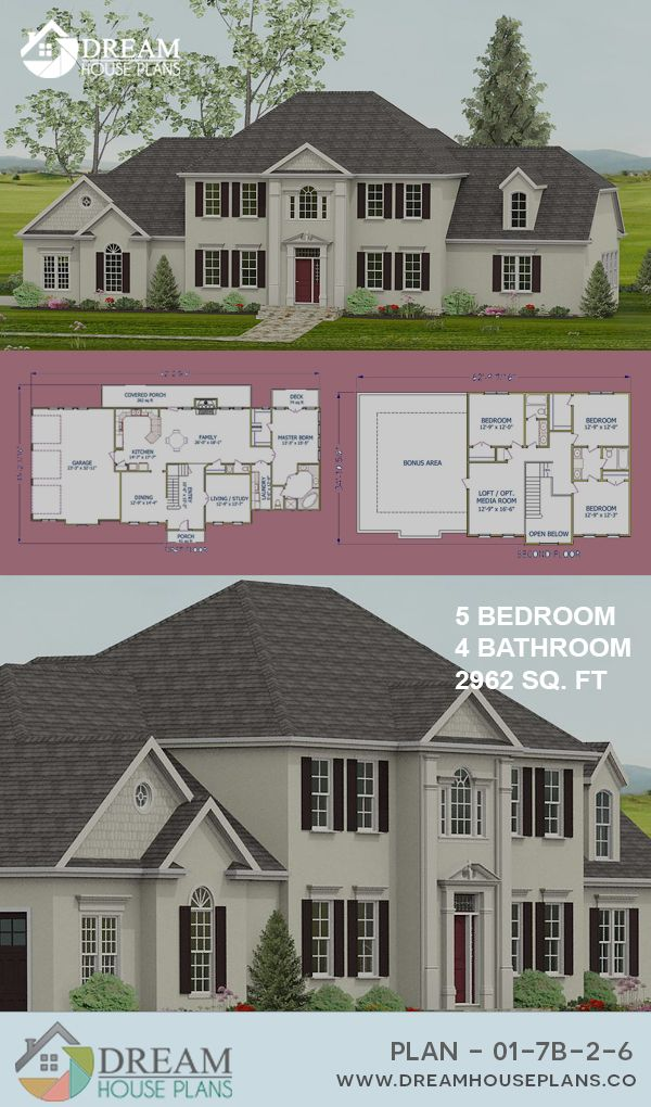 Dream House Plans Popular Southern 5 Bedroom 2962 Sq Ft House Plan With Custom Home Plan Opti Affordable House Plans Southern House Plans Dream House Plans