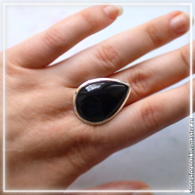 """Купить кольцо в серебре 925 пр. """"Капля оникса"""" - черный, серебро, серебро 925 пробы"""