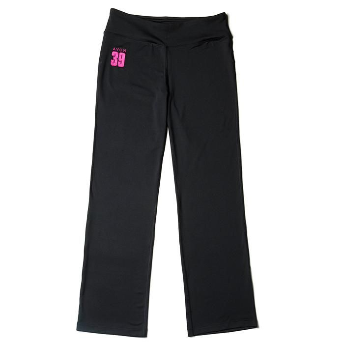 Take breast cancer down in these yoga-inspired pants.  Featuring a wide waistband for comfort, a waist stash pocket for convenience, and an embroidered AVON 39 on the hip for pride. Net proceeds go to the Avon Breast Cancer Crusade. Regularly $55.00.  Buy online at snalley.avonrepresentative.com