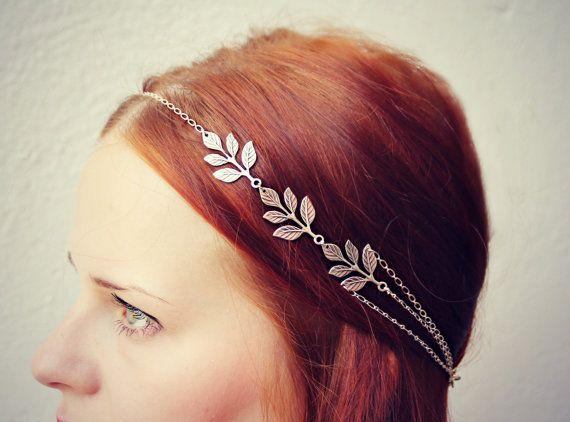 silver leaves head chain, chain headband, grecian headband, metal headband, unique headband
