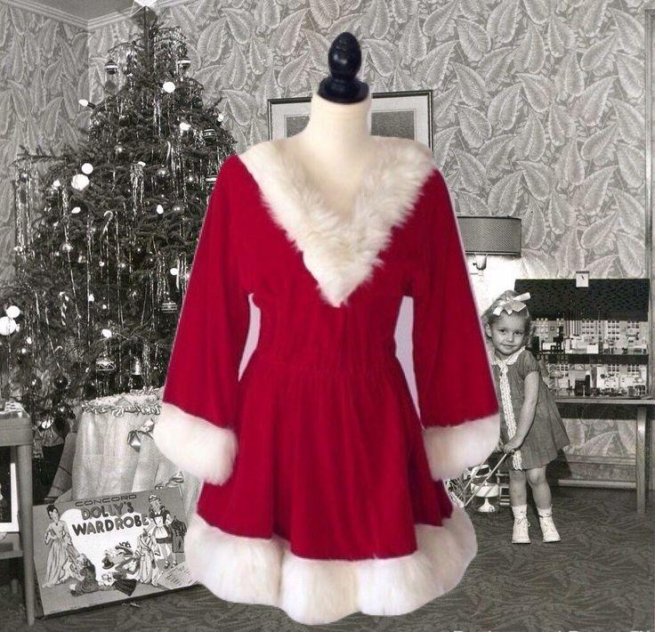 Vintage Santa Costume Lady Santa Dress Red Velvet Fake Fur Full Circle Skirt Christmas Halloween Costume by VerilyVintageClothes on Etsy https://www.etsy.com/listing/260447713/vintage-santa-costume-lady-santa-dress