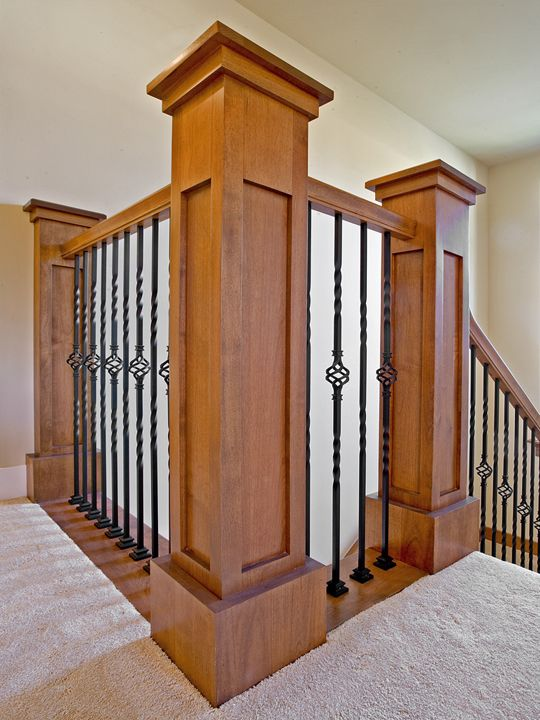 Craftsman style post and rails with wrought iron spindles for Craftsman picture rail
