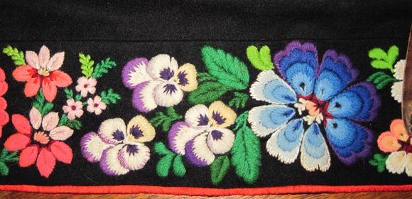 Traditional floral wool embroidery (called påsöm) found in Dala-Floda, Dalarna, Sweden..