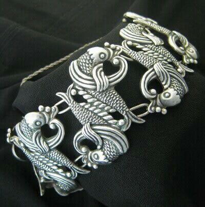 Bracelet   Los Castillo. 'Fish' bracelet. Sterling silver. circa 1940's (pre-'eagle')