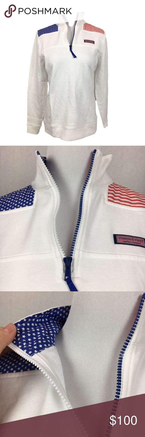 """Vineyard Vines American Flag Shep shirt white New with tags! vineyard vines women's American flag shep shirt in white cap. size XXS and XS available  inside collar is printed and zipper is white and blue  armpit to armpit-18"""" overall length-24""""  I085, 194  No trades Vineyard Vines Tops Sweatshirts & Hoodies"""